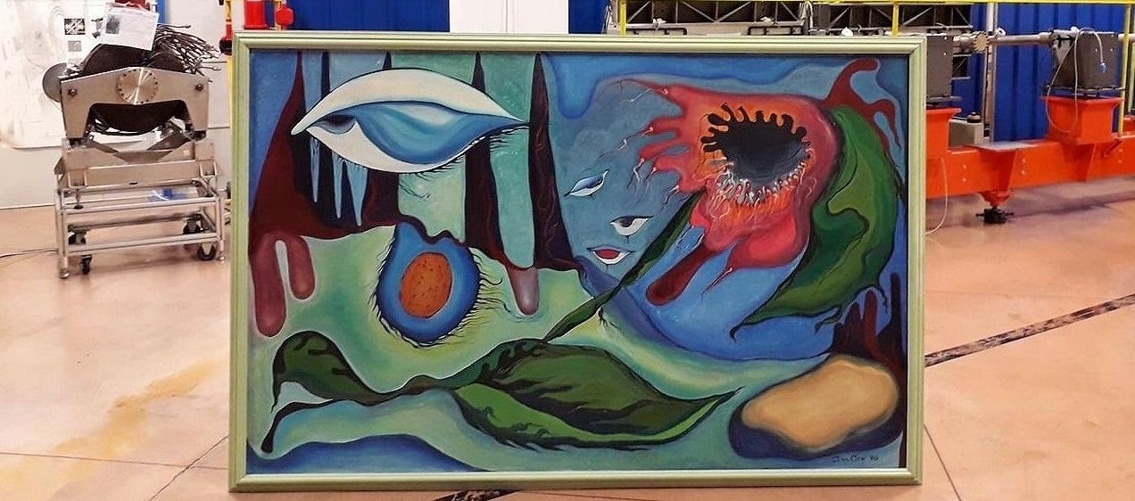 """La pittrice Annamaria Ducaton dona il suo dipinto """"Esistenze"""" a Elettra Sincrotrone Trieste"""