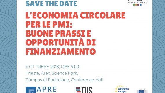 """Save the Date 3 ottobre: """"L'economia circolare per le PMI: buone prassi e opportunità di finanziamento"""""""